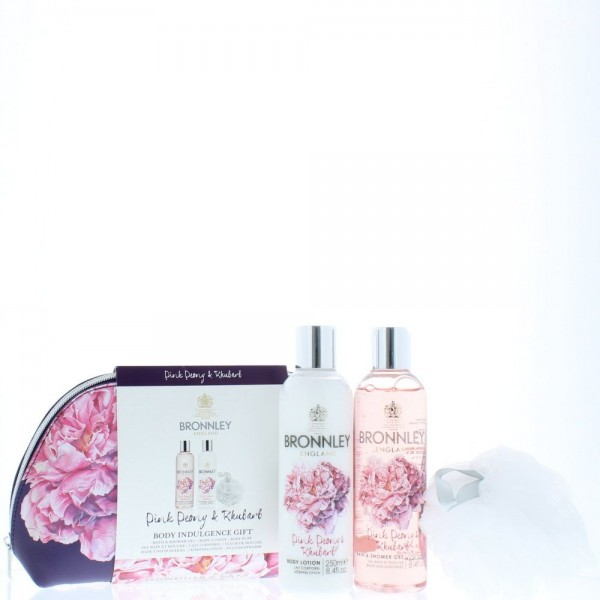 Bronnley Pink Peony & Rhubarb Shower gel 250ml / Body lotion 250ml / Shower Sponge / Bag
