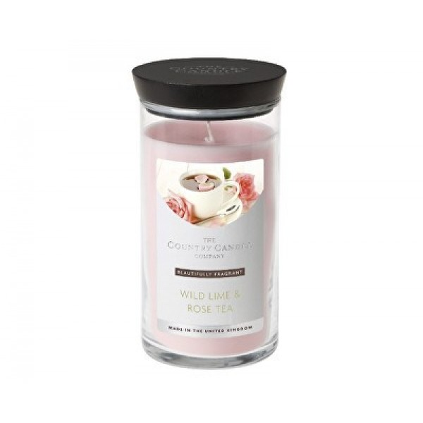 Country Candle Wild Lime & Rose Tea Diffuser - Scented Candle in Glass Dose 630.0g