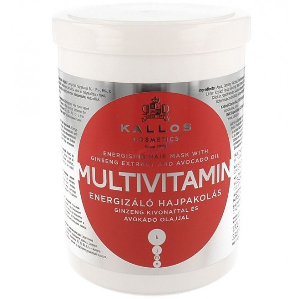 Kallos Multivitamin with Ginseng Extract and Avocado Hair Mask 1000ml