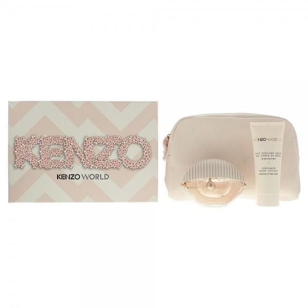 Kenzo World Edt 75ml / Body Lotion 75ml / Pouch Pink Box